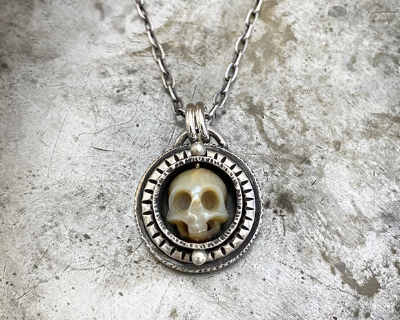 Carved Pearl Skull Necklace #1