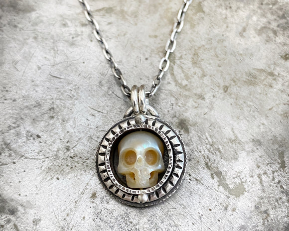 Carved Pearl Skull Necklace #2