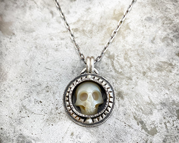 Carved Pearl Skull Necklace #3