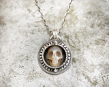 Carved Pearl Skull Necklace #4