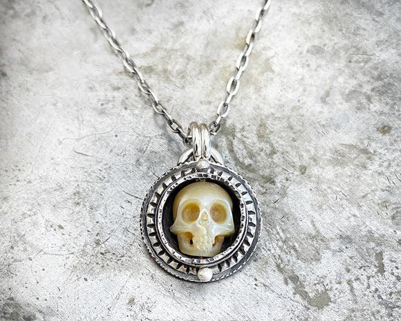 Carved Pearl Skull Necklace #5