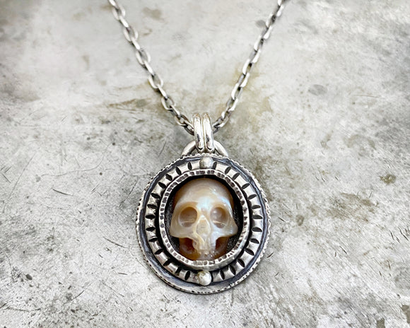 Carved Pearl Skull Necklace #7