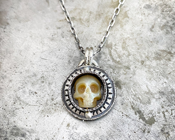 Carved Pearl Skull Necklace #8