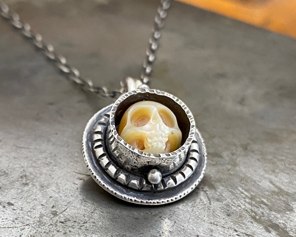 Carved Pearl Skull Necklace #9