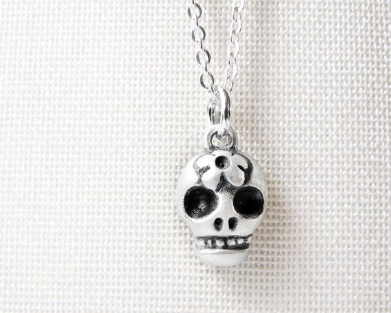 Very Tiny Sterling Silver Sugar Skull Necklace