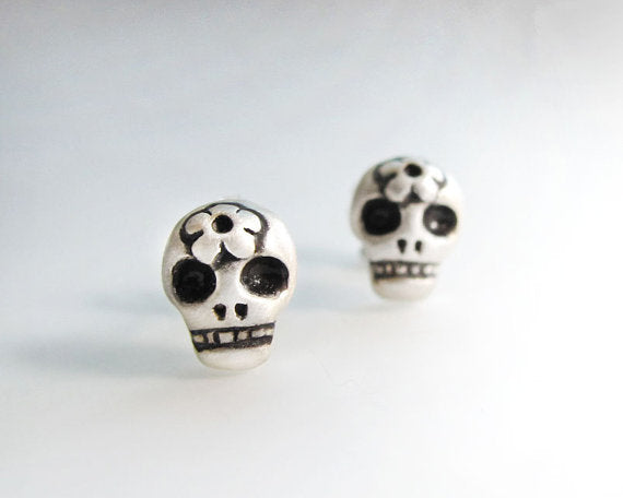 Sterling Silver Sugar Skull Post Earrings