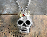 Sterling Silver Skull Necklace with Brass Flame Crown