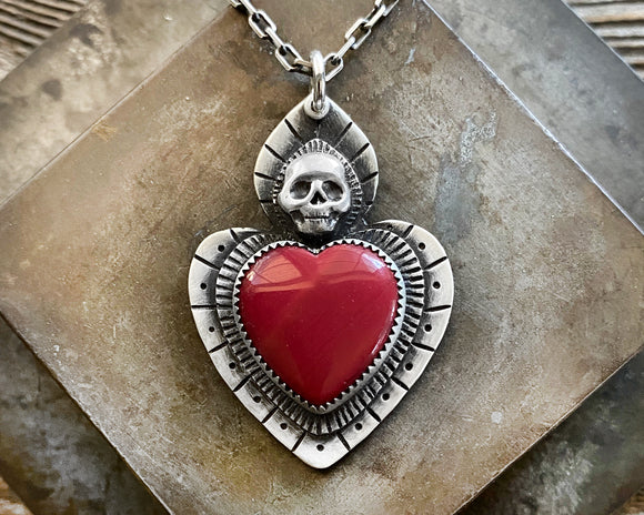 Red Rosarita Skull Sacred Heart Necklace