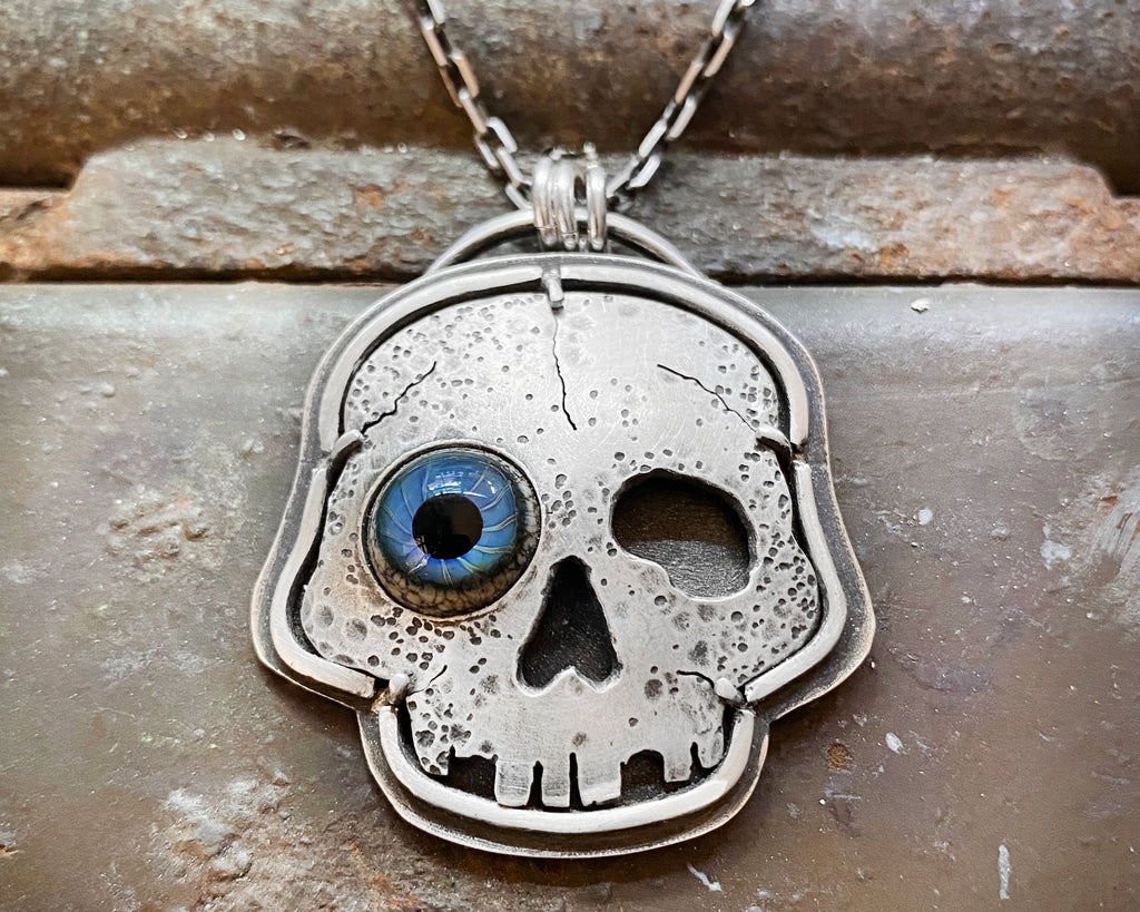 Wonky Eye Skull Necklace