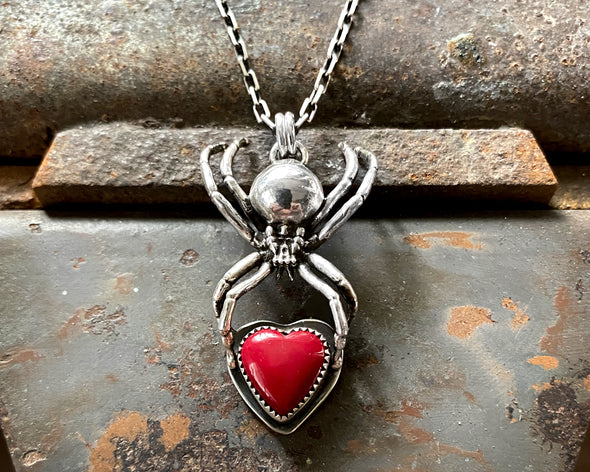 Sterling Black Widow with Rosarita Heart Necklace