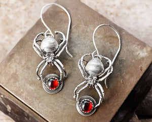 Sterling Silver Black Widow Spider Earrings with Garnets