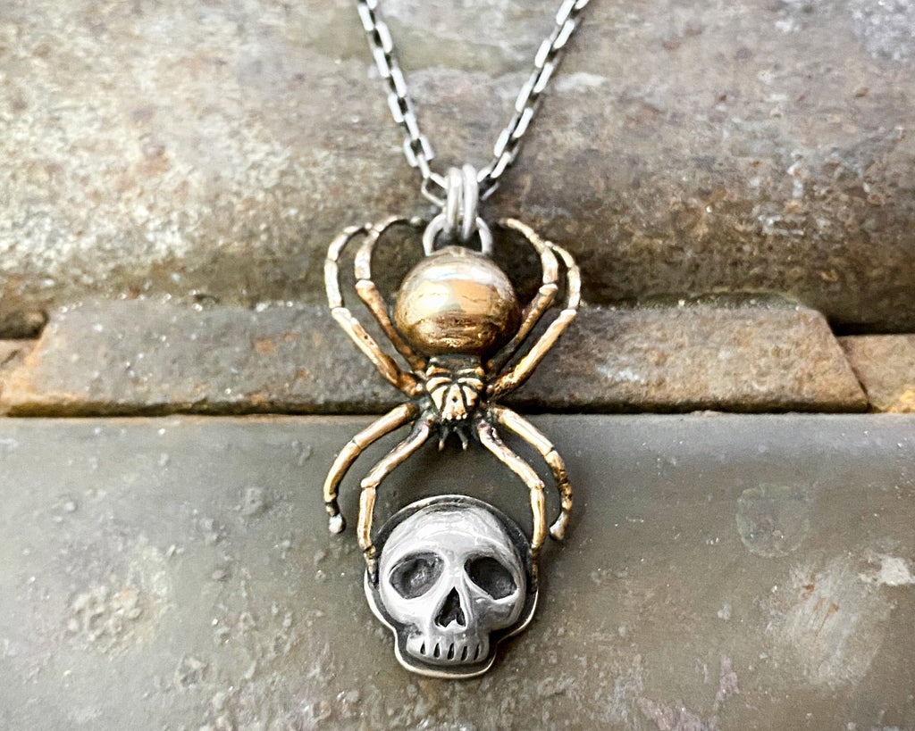 Black Widow Spider & Skull Necklace