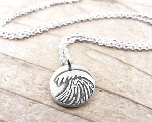 Tiny Silver Ocean Wave Necklace