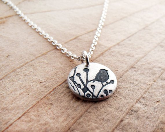 Tiny Little Bird Necklace in Silver