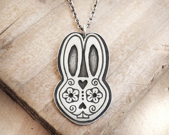 Rabbit Sugar Skull Necklace in Silver