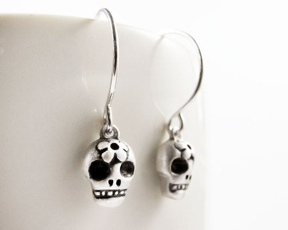 Meaningful Silver Jewelry Handmade Sugar Skull Earrings