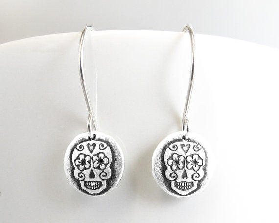 Tiny Sugar Skull Earrings