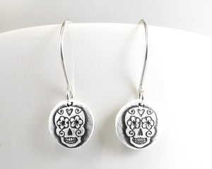Tiny Silver Sugar Skull Earrings