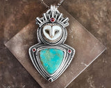 Barn Owl with Turquoise and Rose Cut Garnets