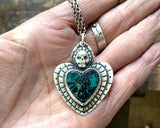 Sacred Heart Necklace with Skull and Turquoise, Sterling Silver