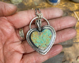 Sacred Heart Necklace in Turquoise and Sterling Silver