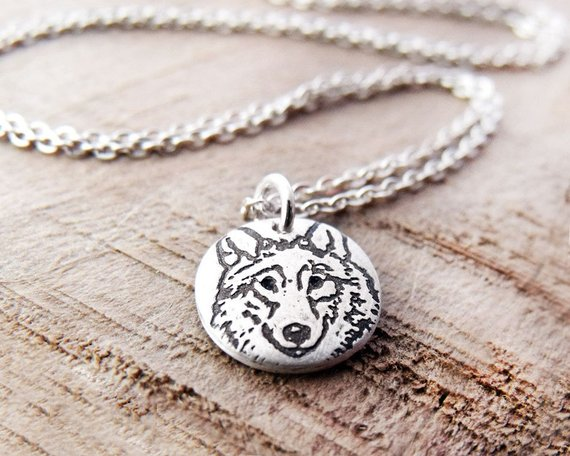 Tiny Silver Wolf Necklace