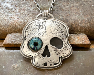 Wonky Eye Skull Necklace - Sterling Silver with Glass Eye