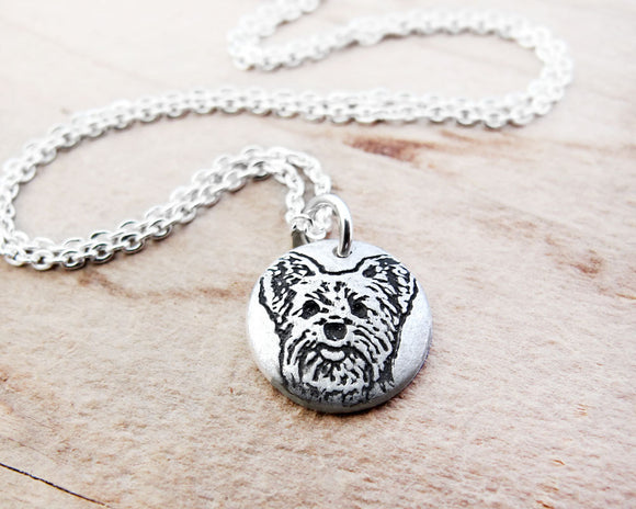 Tiny Yorkie Necklace in Silver for Yorkshire Terrier Lovers