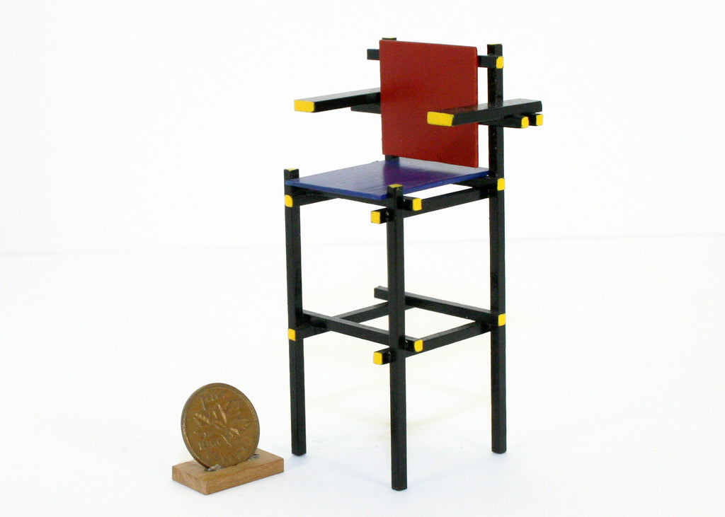 Rietveld style Red Blue High Chair