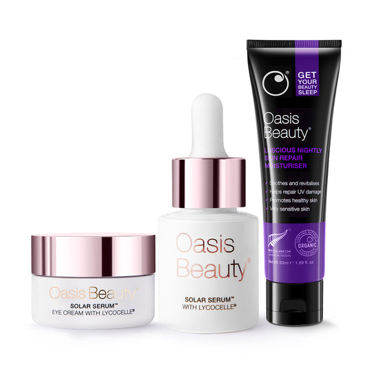 Anti-Ageing Package Step 2 with Beauty Sleep Night Cream, Solar Serum with Lycocelle and Solar Serum Eye Cream with Lycocelle by Oasis Beauty