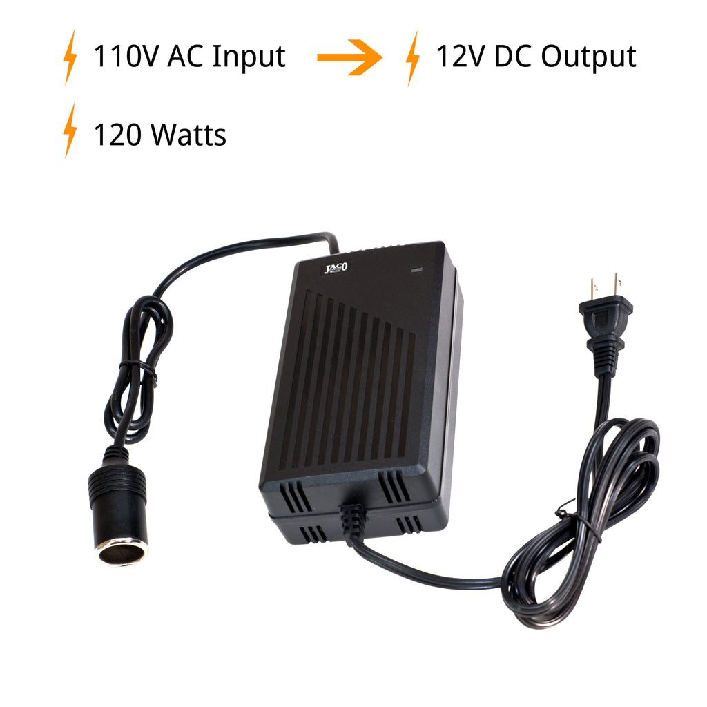 AC/DC Power Adapter - Certified 12V DC to 110V AC Converter - 10A/120W