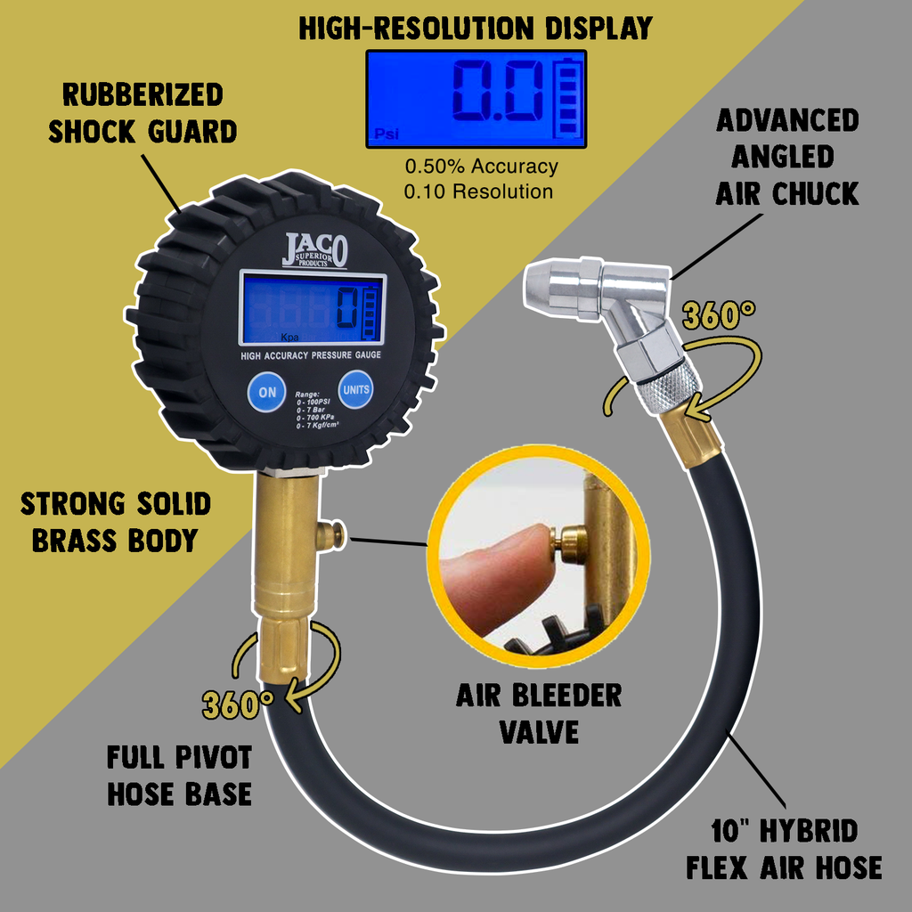 ElitePro™ Digital Tire Pressure Gauge - Professional Accuracy - 100 PSI