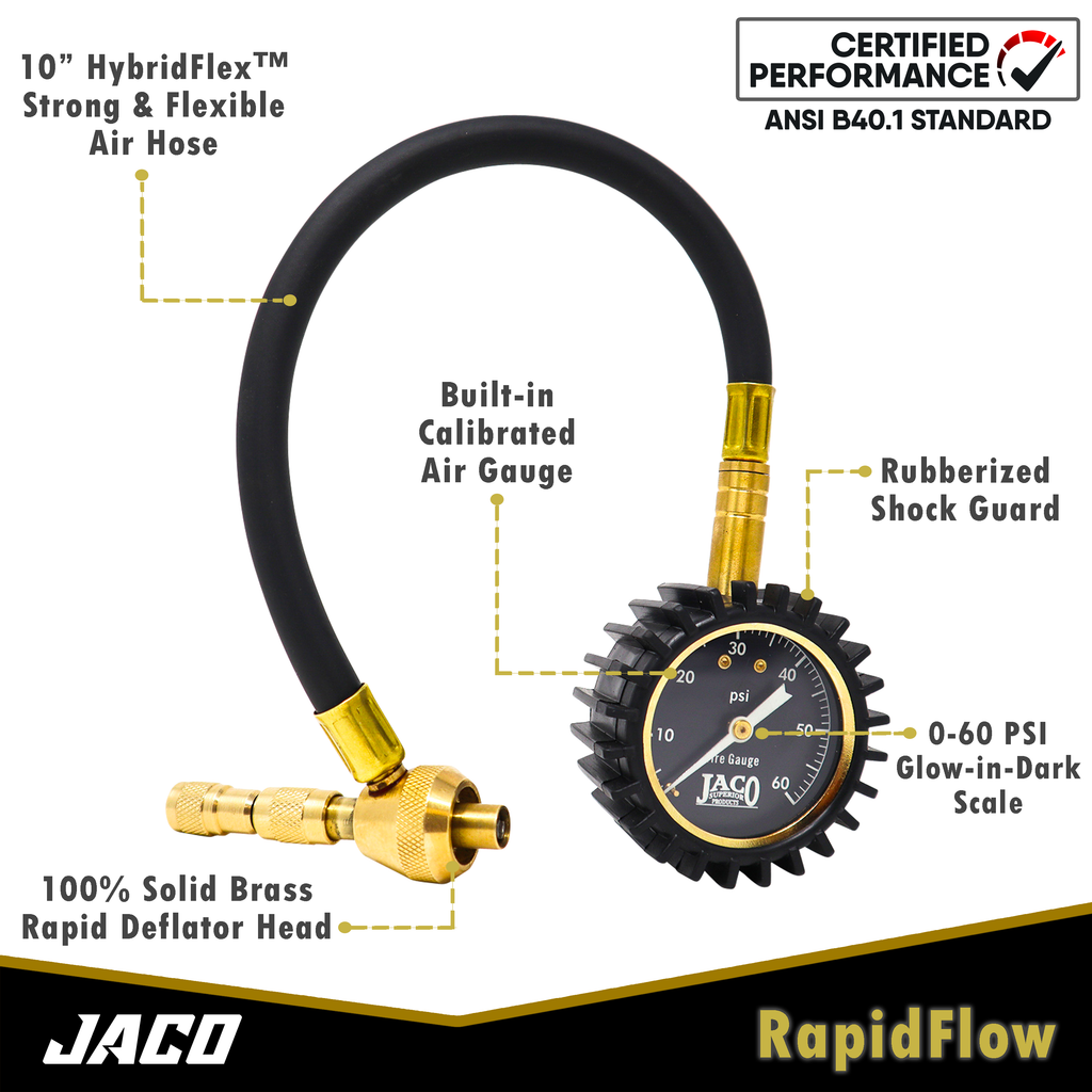 RapidFlow™ Tire Deflator Gauge (0-60 PSI) | Rapid Off-Road Air Down Kit