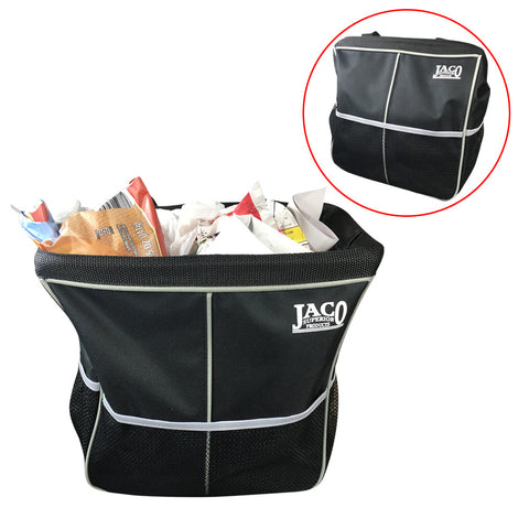 JACO TrashPro Car Trash Can - Premium 2-in-1 Leakproof Litter and Garbage Bag plus Organizer