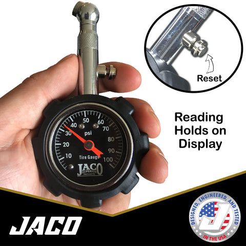 Large 2 Glow Dial Certified ANSI B40.1 Accurate RV CK Auto Tire Pressure Gauge 100 PSI Best for Any Car Solid Brass Hardware Motorcycle Truck Premium Braided Hose