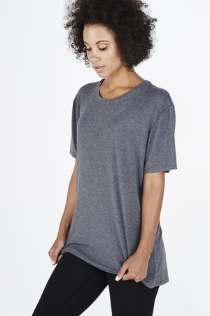 Women's BAM.U bamboo free fit tee t shirt in charcoal over black bamboo leggings
