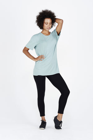 Women's girl BAM.U bamboo free fit tee t shirt in teal over black bamboo leggings