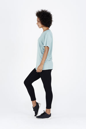 Women's BAM.U bamboo free fit tee t shirt in teal over black bamboo leggings