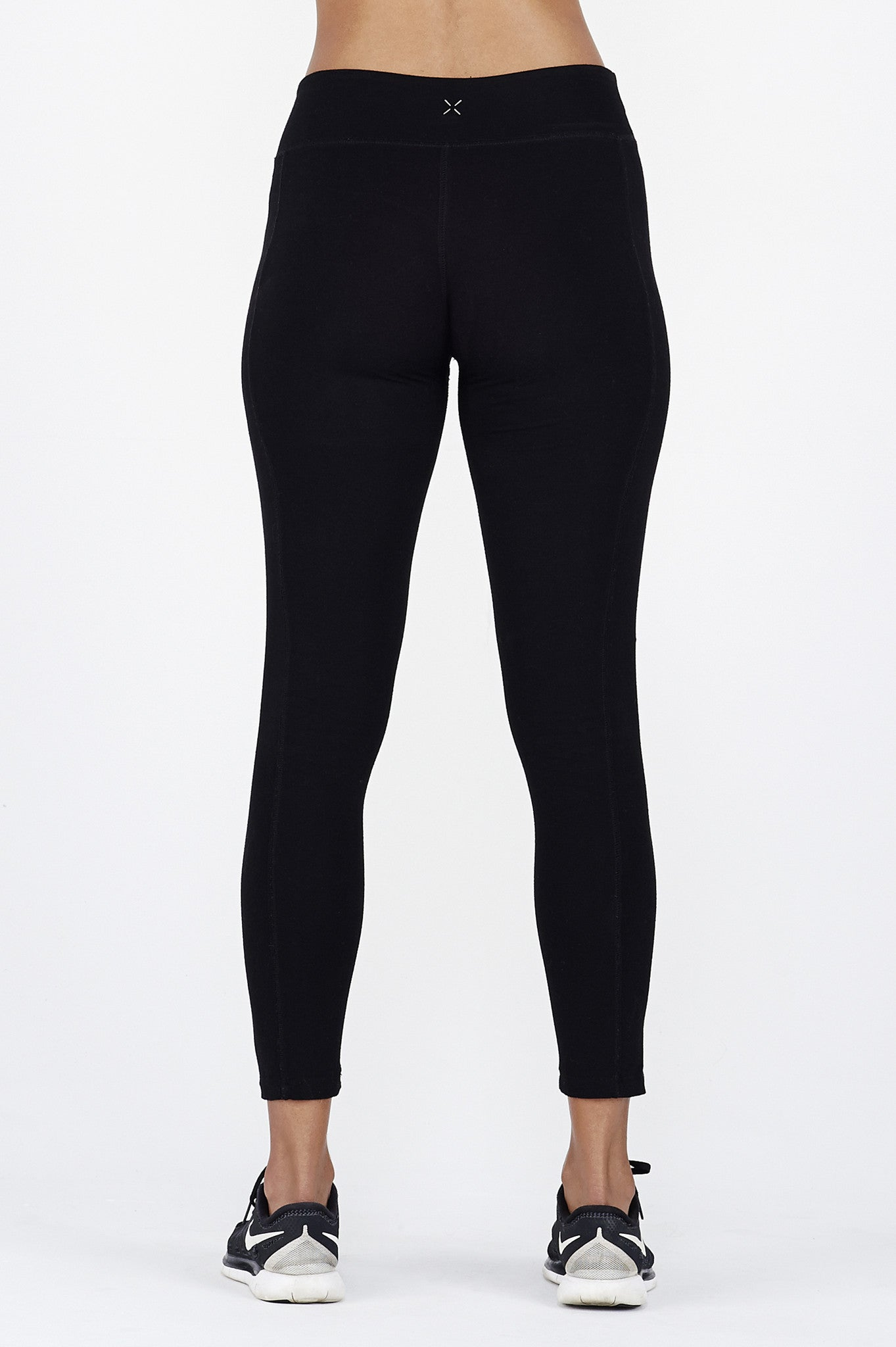 Woman's legs wearing black BAM.U bamboo low impact leggings