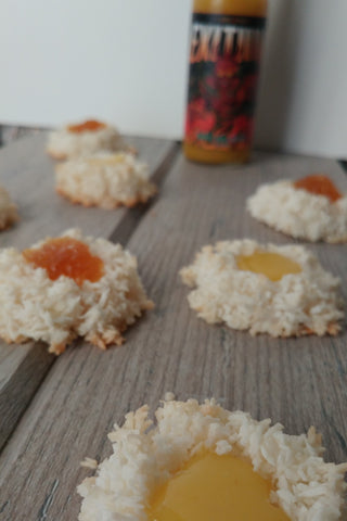 Fiery Thumbprint Macaroons Two Ways (with pineapple curd or pineapple jam)