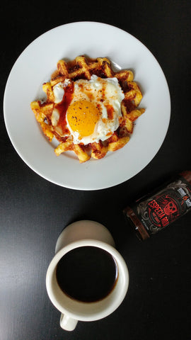 Cornmeal waffles with Especia Roja Maple Syrup
