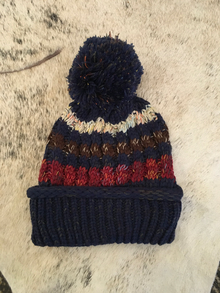 Navy Blue Stripped Beanie