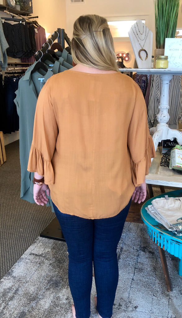 Embroidered Caramel Woven Top