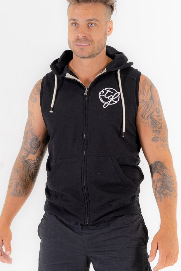 CTGL SLEEVELESS ZIP HOODIE -  BLACK