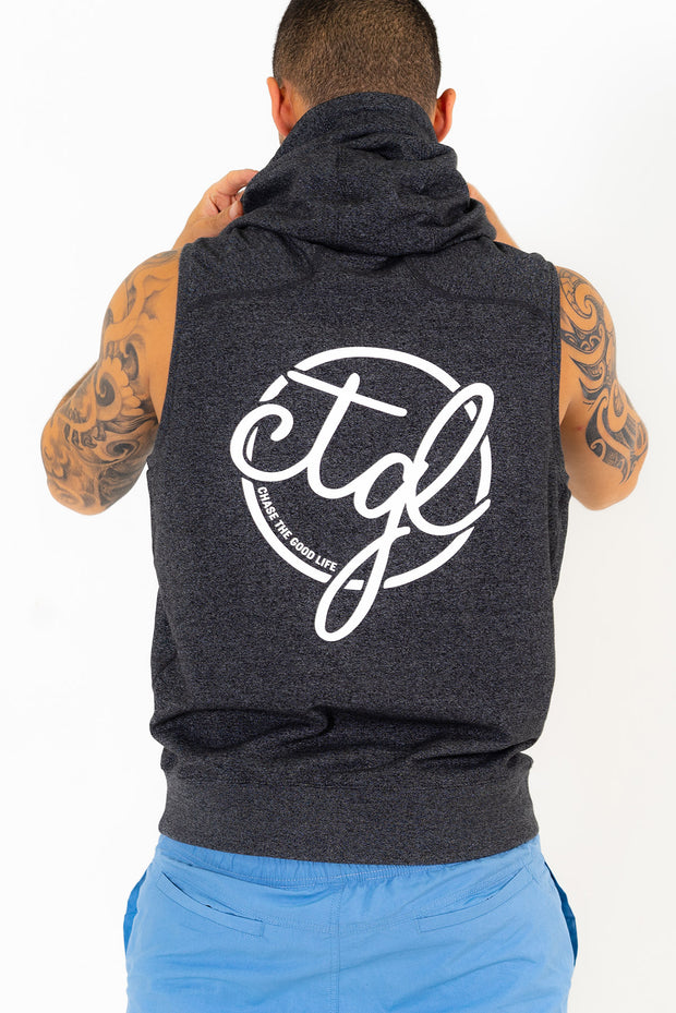 CTGL SLEEVELESS ZIP HOODIE -  DARK GREY