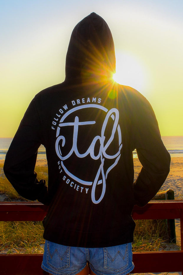 FOLLOW DREAMS HOODIE - BLACK UNISEX