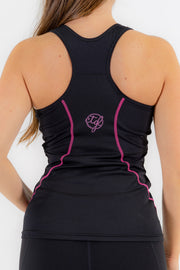 WOMEN'S SPORTS BRA SINGLET - BLACK/PINK