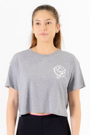 WOMEN'S CROP TEE - GREY