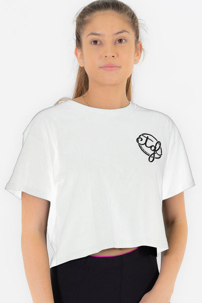 WOMEN'S CROP TEE - WHITE