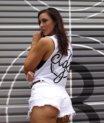 +NEW+ CROP TANK WHITE / BLACK